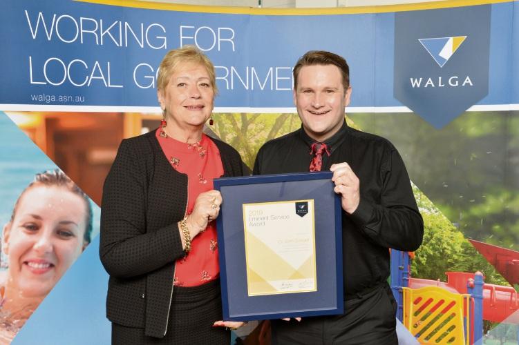 WALGA president Lynne Craigie and Bassendean councillor John Gangell.