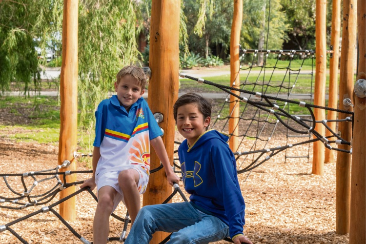 Jonty Petersen and Chad Cameron enjoy the new play equipment at Sir Albert Jennings Park in Willetton. Pic supplied