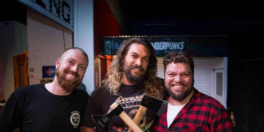 Lumber Punks founders Sam Hay and Tyson McMillan with Jason Momoa. Picture: Supplied