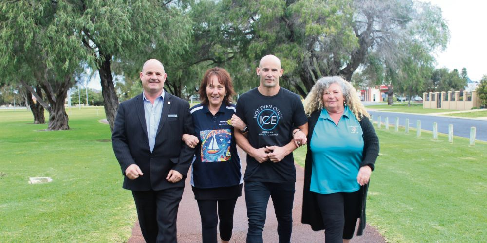 Mandurah Rotary club members Paul Rowe, Marg Pantall and Be Westbrook with AAIC state manager Jay Birch.