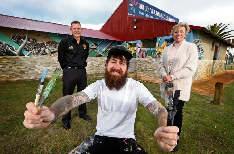 Darren Smith (General Manager, Morley Noranda Recreation Club), Brenton See (Muralist) of Hilton and Cr Sally Palmer (City of Bayswater). Seen here in front of the new mural on the Morley Noranda Recreation Club. Picture: David Baylis www.communitypix.com.au d495011