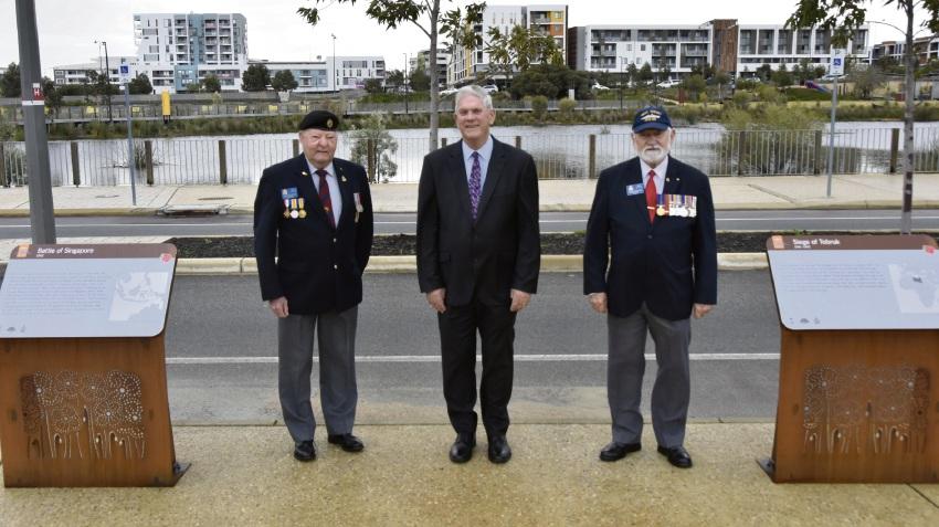 RSL ceremonial advisor Arthur Stanton, Mayor Logan Howlett and Cockburn RSL president Digger Cleak on Remembrance Avenue.