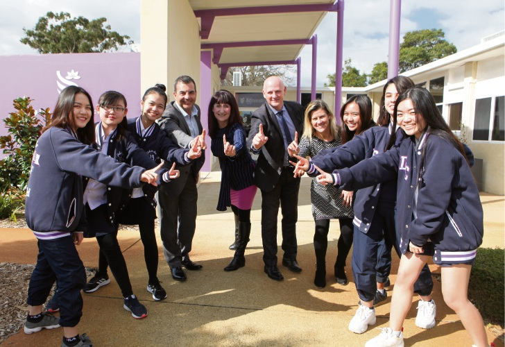 Dianella Secondary College Year 12 students Maddie Thai, Helen Ly, Mariam Elgammal, Justine Collado, Gayle Garcia and Felicity Phan with Stirling mayor Mark Irwin, teacher Paola Pastorelli, principal Wayne Austin and teacher Leanne Philippe. Photo: Michael Gill