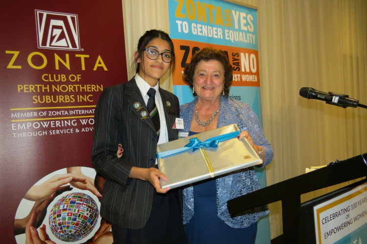 Peter Moyes Anglican Community School Year 12 winning student Simran Vyas with Zonta Club of Perth Northern Suburbs president Linda Tinning.