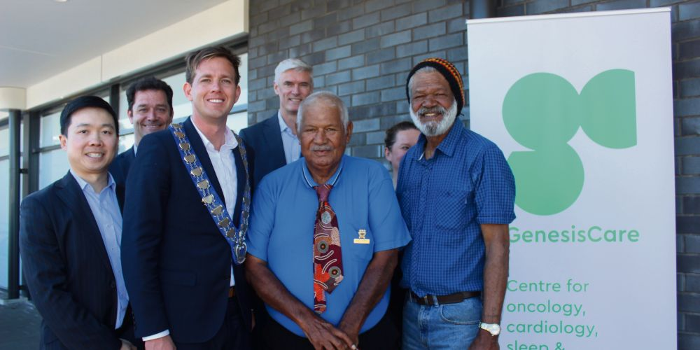 Mandurah MLA Rhys Williams with Frank and Harry Nannup with GenesisCare staff.