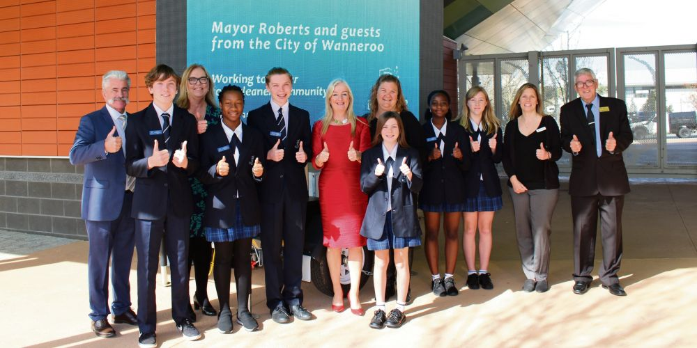 Wanneroo Mayor Tracey Roberts and councillors Lewis Flood, Natalie Sangalli and Linda Aitken with Butler College staff and students.