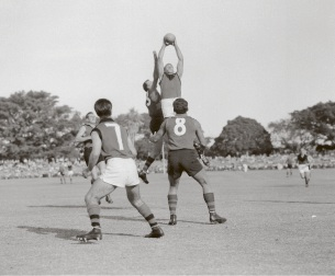 No. 7 Kevin McGill waits as Polly Farmer flies for the ball against arch rivals West Perth. Picture: The West Australian