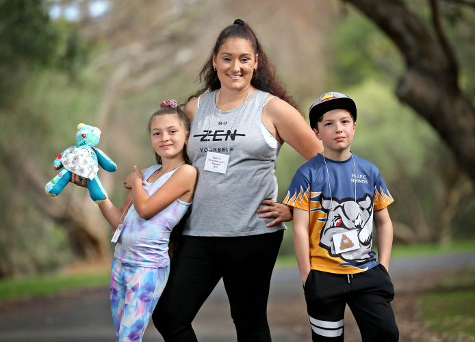 Stef Little (centre), of Wembley Downs, with her daughter Samantha (9) and Tyler Andrew (10), of Wilson. who are urging people to be part of the Walk for Hirschsprung's Disease on September 15. Photo: David Baylis