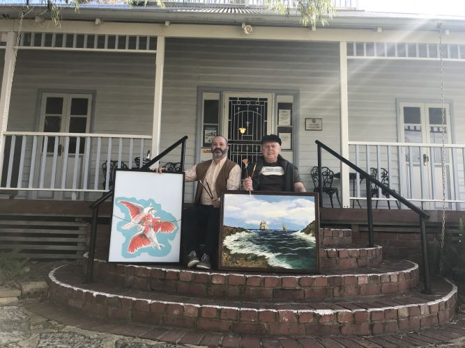Artists Angelo Lopez and Ken Harvey outside Ellis House in Bayswater. Picture: Kristie Lim
