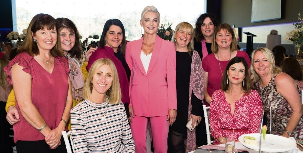 Dawn Gleeson (centre) with guests at the Pink High Tea 2019. Pictures: Viva Photography