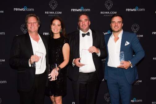 Some of the night's winners: (L-R): Space Real Estate's Scott Swingler, Duet Property's Susan James, Pilbara Real Estate's Robert Sleator and One Residential's Shane Beaumont.