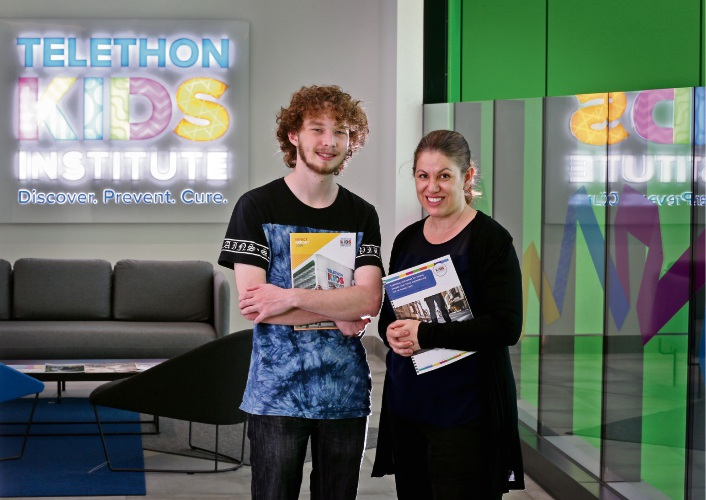 L-R: Darcy (21) and researcher Dr Melissa O''Donnell from the Telethon Kids Institute at the Perth Childrens Hospital.  The Telethon Kids Institute has released a report on young people from state care and their outcomes after they turn 18. It supports Home Stretch, a campaign to increase the support for youths from the age of 18 to 21. Picture: David Baylis www.communitypix.com.au   d495314