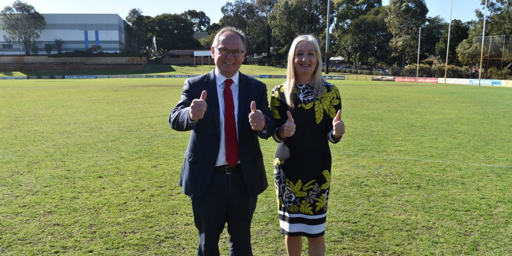 Local Government Minister David Templeman and WALGA deputy president Tracey Roberts. Picture: Kristie Lim