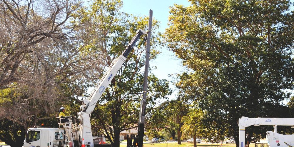 Removal of one of the last power poles in the Town of Cambridge.