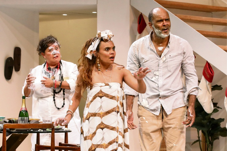 Miranda Tapsell (centre) with Melodie Reynolds-Diarra and Tony Briggs in Black is the New White. Picture: Johnny Diaz Nicolaidis
