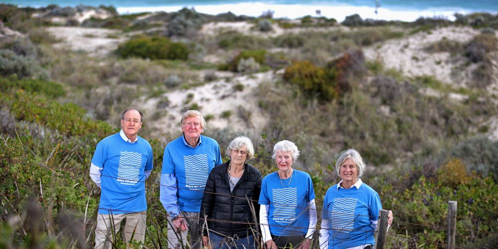 Beach Not Bitumen members Philip Smith of Scarborough, Mike and Marilyn Needham of Sorrento, Marg Herring of Scarborough and Robyn Murphy of Marmion are pleased these Scarborough dunes have been reclassified. Photo: David Baylis