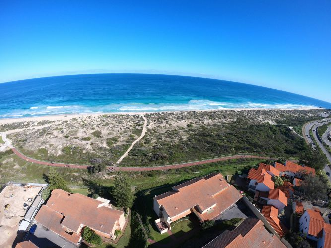 View from the crane at the Beach Shack development site in Scarborough. Photo: Andrew Ritchie