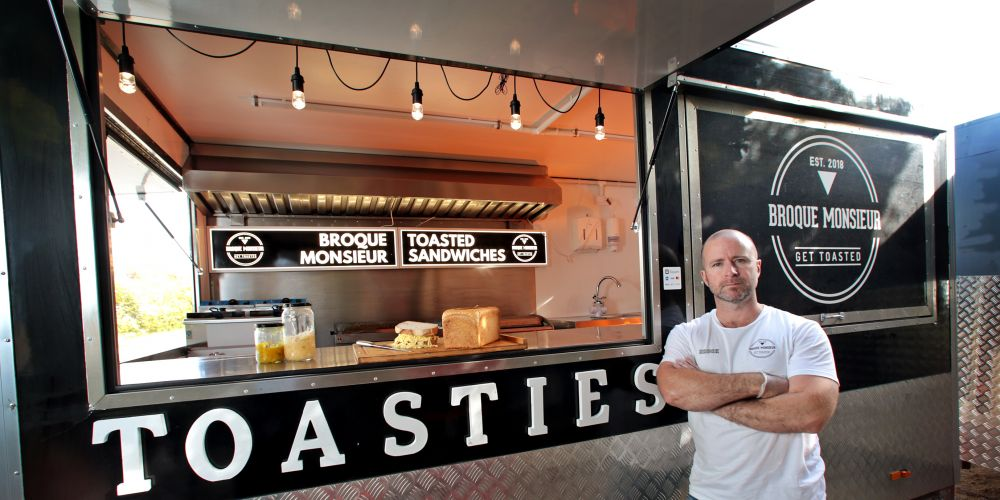 Brock Deighton of Bassendean (Co-owner, Broque Monsieur) with his toasted sandwich food van. Picture: David Baylis www.communitypix.com.au   d495309
