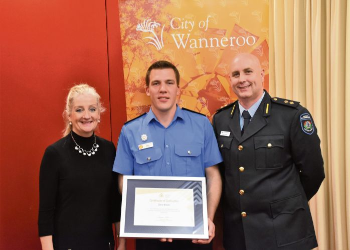 Wanneroo Mayor Tracey Roberts, Dario Nikolic and City of Wanneroo community emergency services manager Paul Postma.