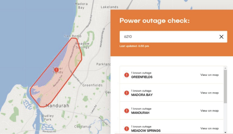 Power outage in central Mandurah
