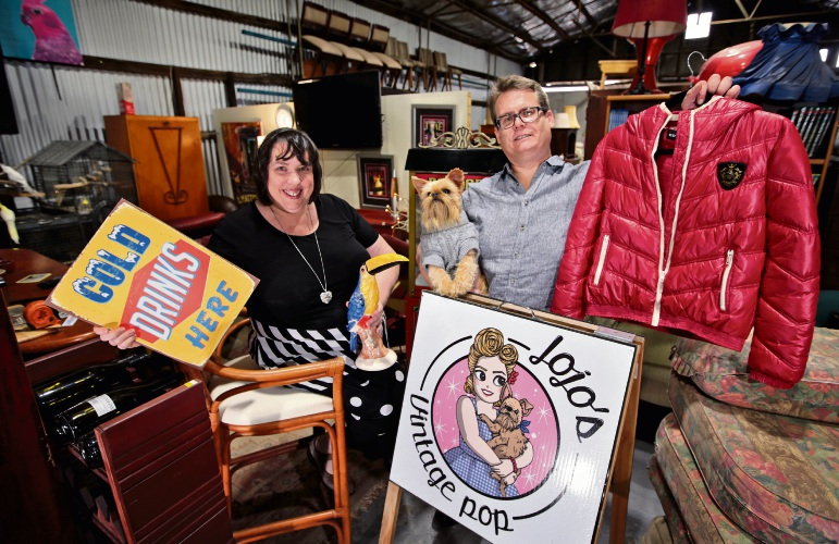 Vicki Potter (Deputy Mayor, Town of Victoria Park) and Luke Coombs from Jojo's Vintage Pop with Chewie (5). Getting ready for the upcoming Garage Sale Trail event in October.