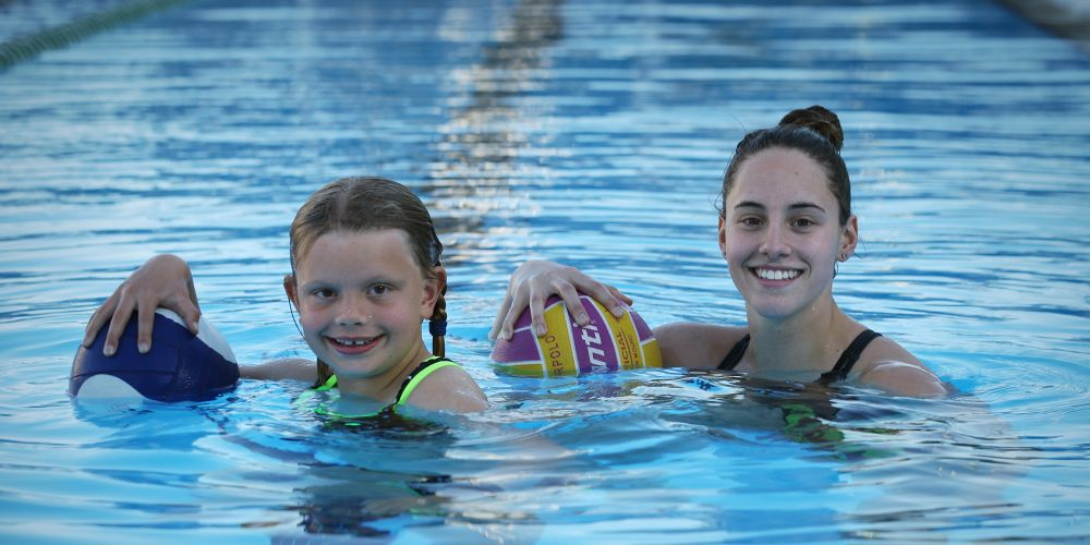 Lucy Kenny (9) and Jamie Oberman (18) Triton Water Polo Club in North Perth. Picture: Andrew Ritchie.      www.communitypix.com.au      d495144