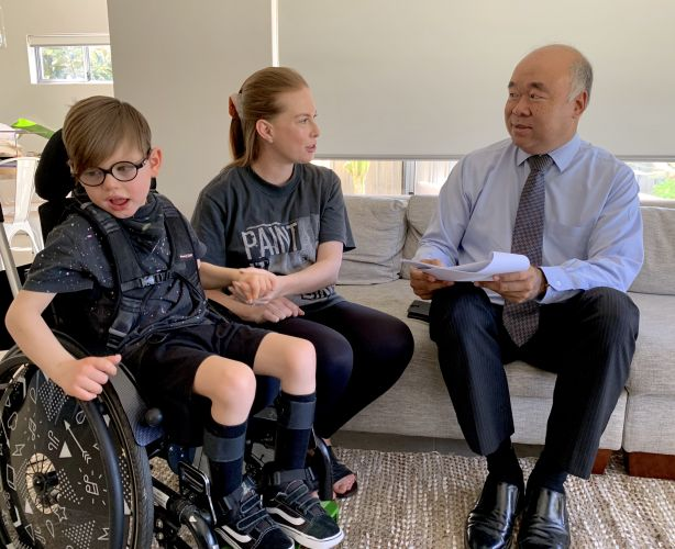 Moore MHR Ian Goodenough meets with Taryn DiCandillo, of Duncraig, who uses the NDIS for her son Owen.