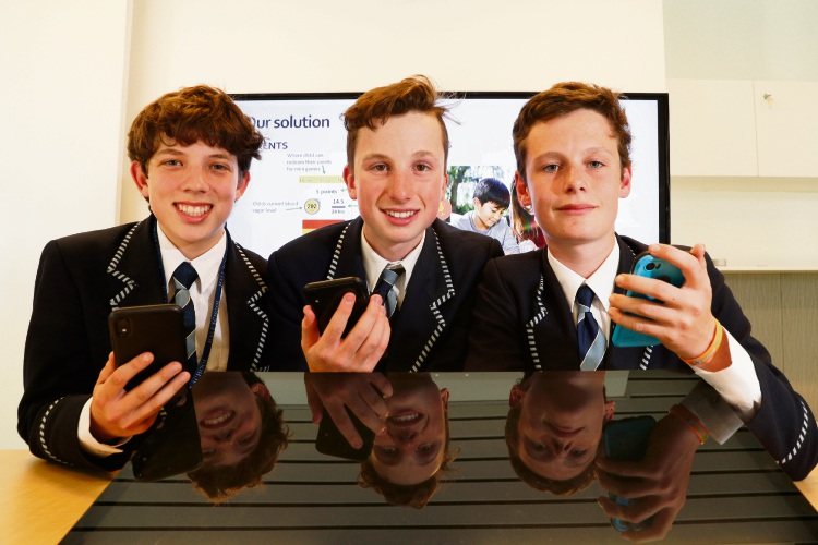 Hale School Year 9 students George Kneebone (Woodlands) Jackson Plange-Korndoerfer (North Perth) and Tom Winton (Trigg) won the AI for Good Challenge for their app idea. Photographer: Andrew Ritchie d495270
