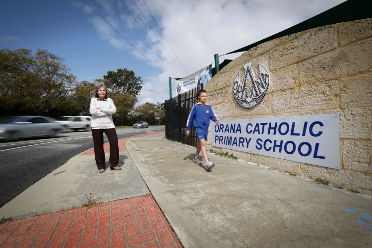 Orana Catholic Primary School principal Christine Walsh with student Liliana Flynn... she is calling for introduction of a 40km/h school zone on Vahland Avenue. Picture: Andrew Ritchie