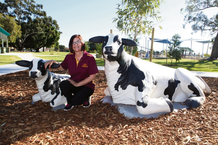 Katie Cerin with Olive and Daisy at Robinson Reserve. Photo: Michael Gill