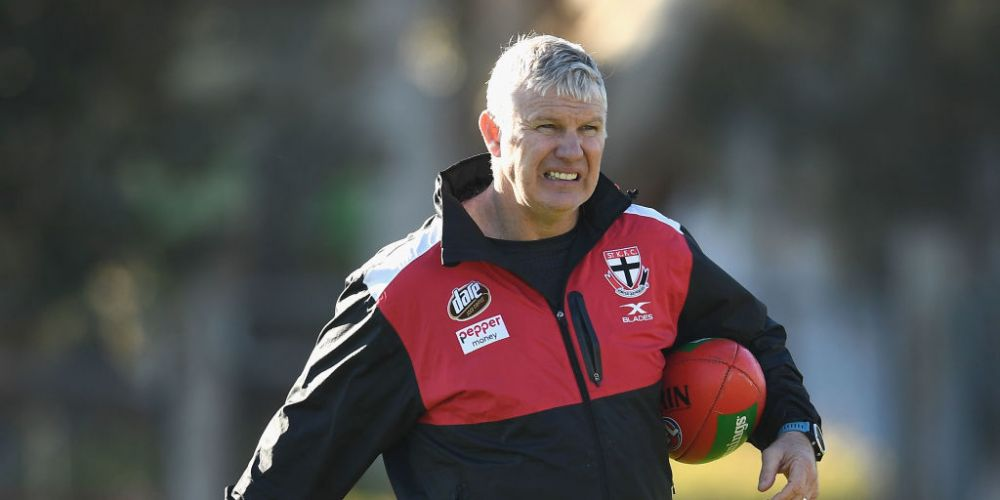 Danny Frawley looks on during a St Kilda Saints AFL training session at Trevor Barker Beach Oval on June 20, 2017 in Melbourne, Australia. Photo: Getty