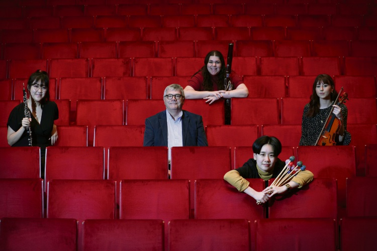 Esther Lee (oboe), Peter Moore (musical director and conductor), Stephanie Sheridan (bassoon), Germaine Png (percussion) and Robyn Blann (violin and concert master). Picture: Andrew Ritchie d495540