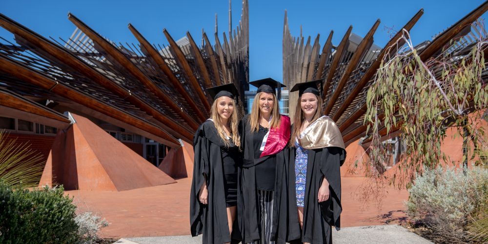 Gaydre Scholtz (centre) with her daughters Taryn and Nikita. Picture: ECU