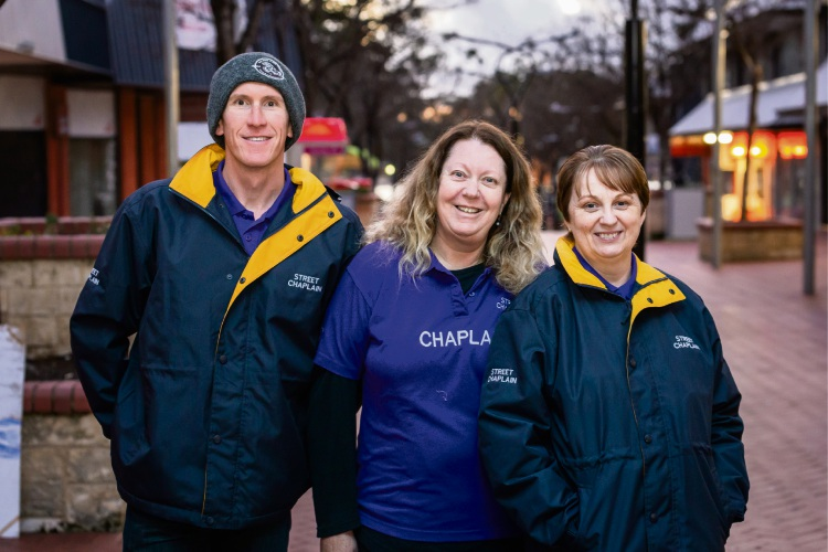 David Kennedy, Karen Jarvis and Lisa Chatterton from Mandurah Street Chaplains.