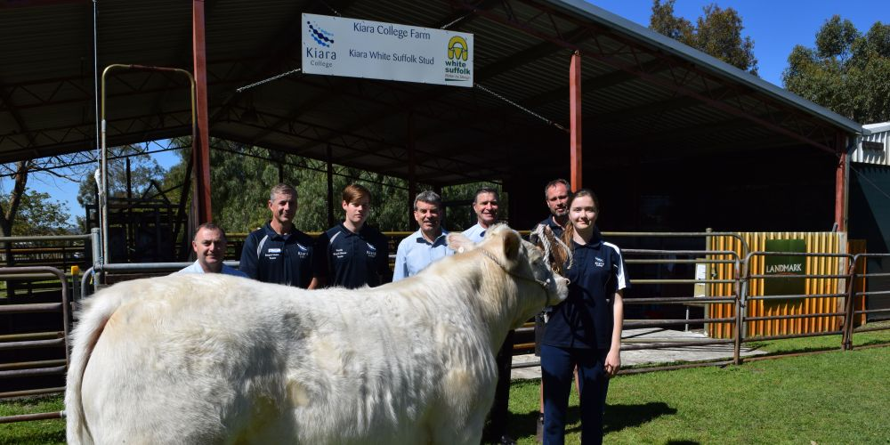 Kiara College agriculture program coordinator Carlo Di Donato, agriculture teacher Tim Grubba, Year 11 student Craige Jones, Bassendean MLA Dave Kelly, principal Grant Brown, agriculture training officer Peter Nalder and Year 11 student Emily Albertson.