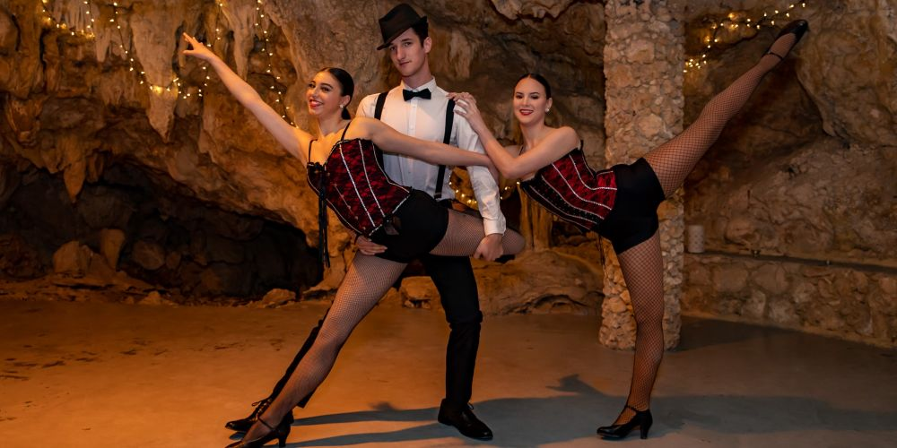 Electric Entertainment dancers Michaela New, Jayson Beedham and Angel Wright-Warner will perform at the Black & Bling Telethon ball in Yanchep National Park's Cabaret Cave. Picture: Sharon Leach