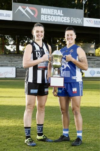 Swan Districts captain Ebony Antonio and East Fremantle captain Evie Gooch. Picture: Michael Bain.
