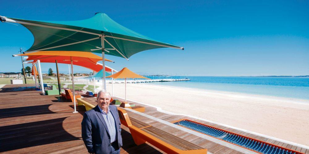 City of Rockingham Mayor Barry Sammels at the Rockingham Beach Foreshore.