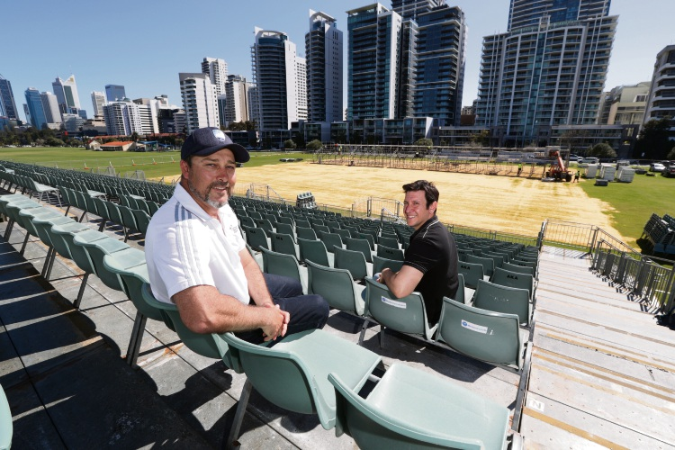 Organisers Bryan Raeburn and Miguel Maron at the Minfootball World Cup stadium in Langley Park. Picture: Andrew Ritchie. d495615