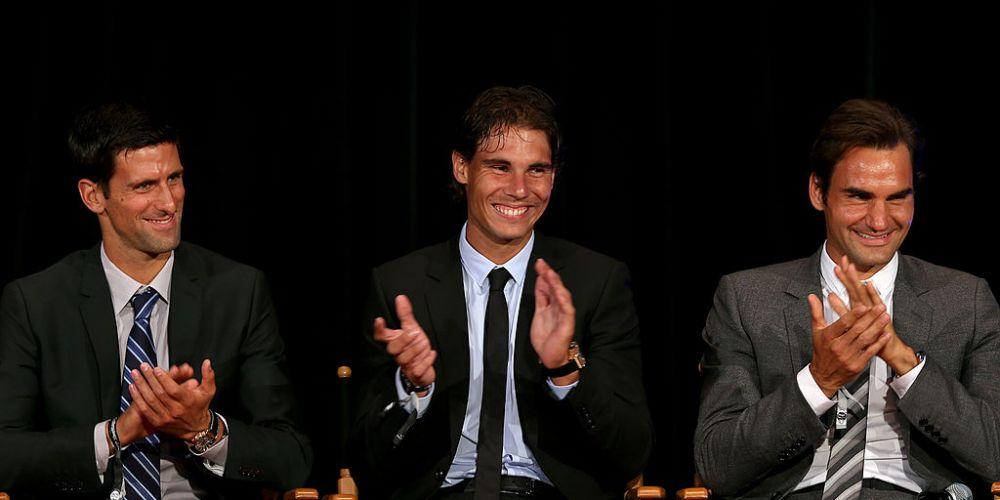 Novak Djokovic, Rafael Nadal and Roger Federer. Photo: Getty