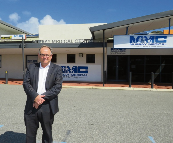 David Templeman MLA outside the Murray Medical Centre, which is offering urgent care to Mandurah residents.