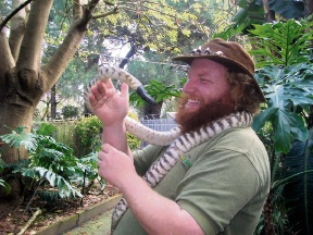 Bradley Holland (Ranger Red). Photo courtesy of Ranger Red's Roving Australian Wildlife Displays.
