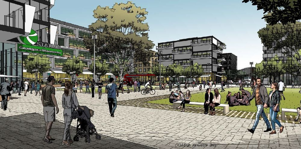 A concept plan for the Gnangara district centre with transit station. Picture: Mike Edwards
