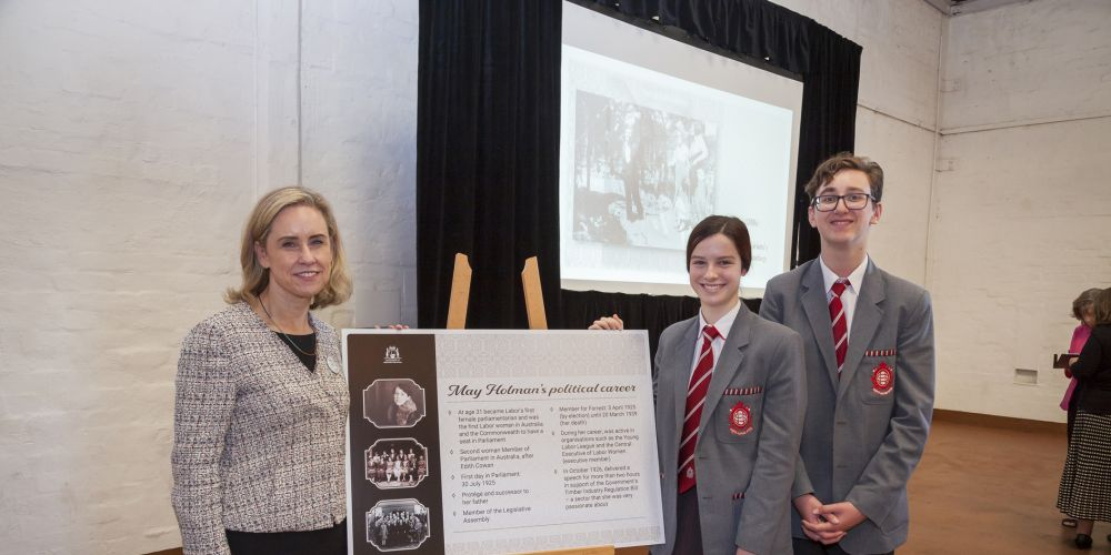 Women's Interests Minister Simone McGurk Simone McGurk with Sofia Gibson and Kai Schlegl at the May Holman Building ceremony.