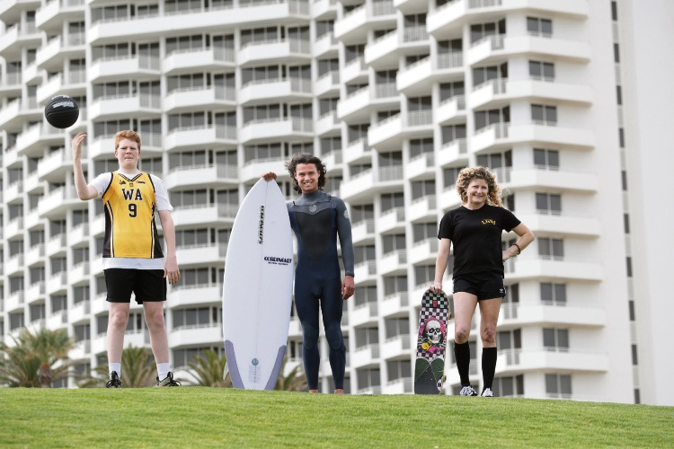 Tanner Vogel (15) Basketball WA, Max Fabre (Cordingley's Surf) and Ebony Taylor (Coach Skateboarding WA) ready for the 2019 Groundswell Festival. Picture: Andrew Ritchie www.communitypix.com.au   d495844