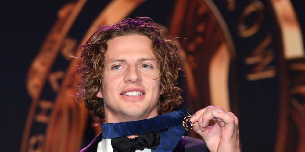 Nat Fyfe with the 2019 Brownlow Medal. Photo: Getty