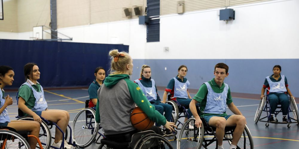 Rebound WA's Amanda Merritt talking to Chisholm Catholic College student Jack Lightfoot at a recent clinic.