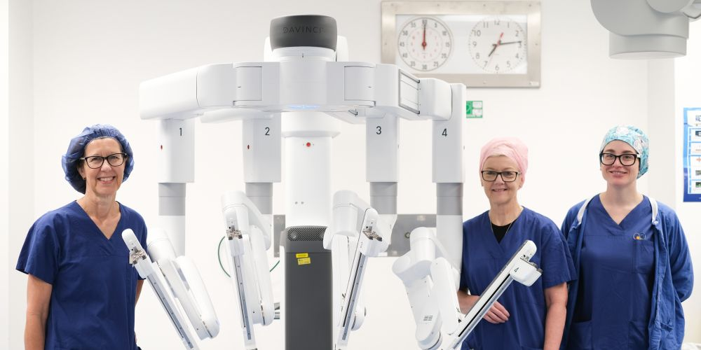 Members of St John of God Subiaco Hospital's surgical team with the Da Vinci Xi surgical robot.