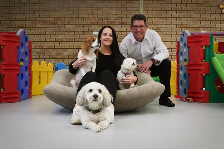 d495870a Happy Tails Doggy Daycare co-owners Amanda Deurloo and Richard Elkington with dogs Sachi, Buckley (front) and Isabel. Picture: Andrew Ritchie www.communitypix.com.au   d495870a