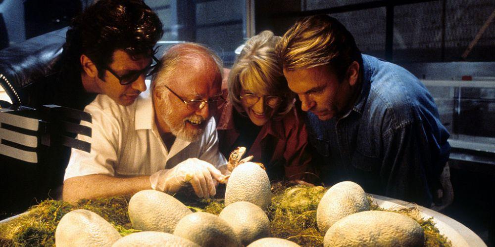Jeff Goldblum, Richard Attenborough, Laura Dern and Sam Neill in Jurassic Park. Photo: Getty